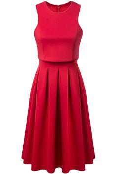 Women fashion pleated one piece dress sleeveless back zipper solid color casual elegant dress o neck high quality Red Sleeveless Dress, Pleated Midi Dress, Scuba Dress, Pinterest Fashion, Dress P, Cheap Dresses, Dream Dress, Flare Dress, Dress To Impress