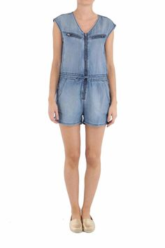 A casually cool romper featuring a V-neckline, short sleeves, cinched waist, zip chest pockets, slant side pockets, and zip front closure. Colour Denim. Machine Wash.   De-Venia Romper by Diesel. Clothing - Jumpsuits & Rompers - Rompers Toronto, Canada