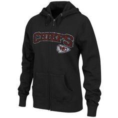 Kansas City Chiefs Ladies Black Classic Football II Distressed Full Zip Hoodie Sweatshirt