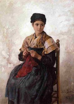 'Молодая женщина Вязание', 1873 по Jules Adolphe Aimé Louis Breton (1827-1906, France)