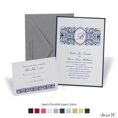 Silver Shimmer Layered Wedding Invitation
