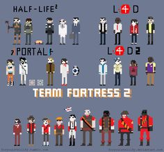 Team Fortress 2 pixel art there are so many more characters then Lfd, Lfd 2, Half-life2, and portal