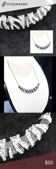 """Zebra Print Fashion Necklace This cubic zirconia Zebra Print necklace would dress up any outfit. It measures about  19"""" long with an adjustable clasp. Jewelry Necklaces"""