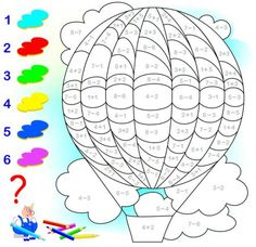Educational page with exercises for children on addition and subtraction. Need to solve examples and to paint the image in relevant colors. Developing skills for counting. Math Coloring Worksheets, Kids Math Worksheets, 1st Grade Worksheets, Math Resources, Play School Activities, Creative Activities For Kids, Math For Kids, Preschool Activities, Teaching Money