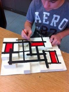 Composição de releitura de Mondrian sob isopor com palitos e pintura - tridimensional!