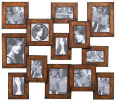 "29"" Large PHOTO FRAME Collage Brown Wood METAL Wall ART Decor TUSCAN Plaque NEW #RusticBrown"