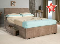 Limelight Oberon 4'6 Double Upholstered Mink Fabric Bed Frame with 2 Drawers - Monsterbeds