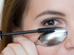 Hold a spoon underneath your eye when applying mascara on your lower lashes to avoid getting marks on your skin.