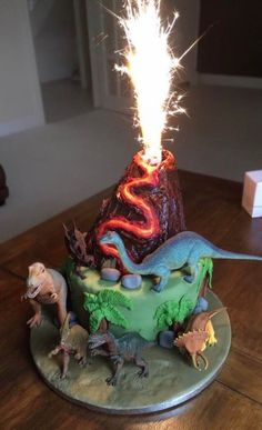 [Homemade] A dinosaur-themed cake I made for my cousins birthday complete with erupting volcano - fantina.pinyhouse [Homemade] A dinosaur-themed cake I made for my cousins birthday complete with erupting volcano - Dinasour Birthday, Dinosaur Birthday Cakes, 4th Birthday Cakes, 3rd Birthday Parties, Dinosaur Cakes For Boys, Dinosaur Food, Birthday Cake Kids Boys, Elmo Birthday, 5th Birthday Ideas For Boys