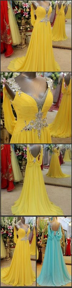vestidos de fiesta 2014 Luxury Yellow Evening Dresses Backless Crystal Formal Robe De Soiree Long Chiffon Evening Gowns