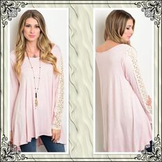 Pink lightweight tunic with lace sleeves  This pink and Ivory tunic is hi/lo maybe an inch difference in front and back. Ivory lace strip down each sleeve! Super soft! 96% rayon and 4% spandex! Tops Tunics