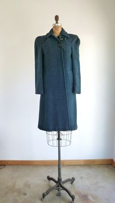 1940s Coat Teal Blue Wool Jacket Vintage 30s Art Deco by MetricMod. , via Etsy.
