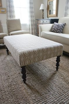 Good Size Ottoman Coffee Table, But I Want Tufted And Different Fabric,  Maybe Lighter Wood Legs