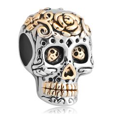 New Plate Flower Skull And Fit Gold Plated Beads Charms Bracelets All Brands Pugster.com