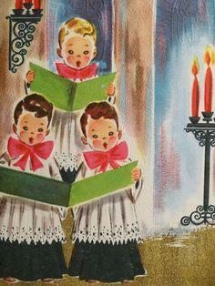 choir christmas  card   1950s Altar Choir Boys Sing Vintage Christmas Card