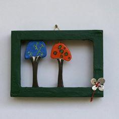 green frame with trees and metallic flower Konica Minolta, Handicraft, Objects, Frame, Digital Camera, Flowers, Metallic, Handmade, Trees