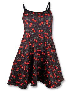 Liquor Brand Damen CHERRIES BLACK Kleid.Oldschool,Tattoo,Pin up,Custom Style