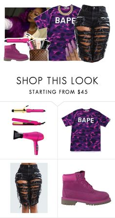 """""""Right My Wrongs // Bryson Tiller"""" by fashionkilla-lex ❤ liked on Polyvore featuring amika, A BATHING APE, Timberland and Club Manhattan"""