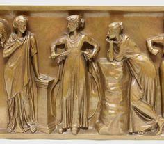 """Bronzerelief, """"Antiker Frauenfries"""", bezeichnet F. Barbedienne, 19 x 72.5 cm. Ferdinand Barbedienne, — Skulpturen, Plastiken"""