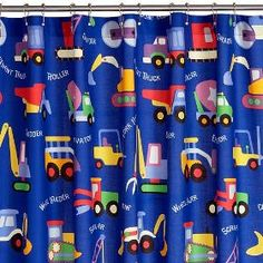 Love The U0027constructionu0027 Motif On This Kids Shower Curtain! What A Fun Theme