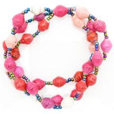 3-strand bracelet - red, white & pink