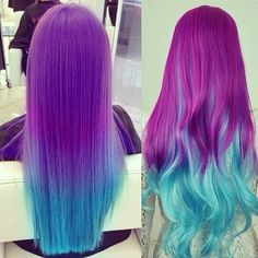 Ombré colored hair❤️- I don't know if this is fake but it looks really cool!