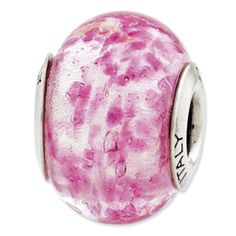 Reflection Beads Sterling Silver Pink Italian Murano Glass Bead