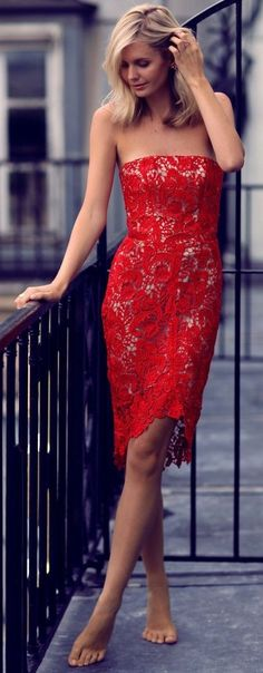 #summer #ultimate #outfits |  Red Lace Off The Shoulder Dress