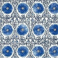 Riya Blue Floral Suzani Design Linen Blend Drapery Fabric by Duralee