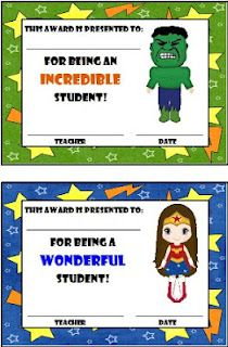 Super hero awards for a super hero theme classroom