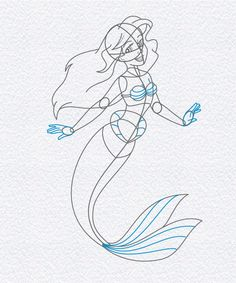 how to draw ariel the little mermaid, step 7