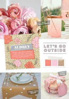 Go outside, take in the fresh air, and decorate the baby shower with fun coral pink flowers, girly refreshments, and tasty macarons. | Girl Party