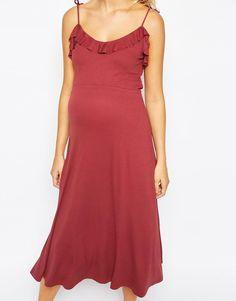 ASOS Maternity | ASOS Maternity Midi Cami Dress With Frill at ASOS