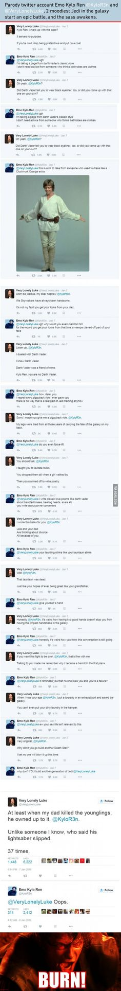 The Sass Awakens In Emo Kylo Ren And Very Lonely Luke's Twitter Battle