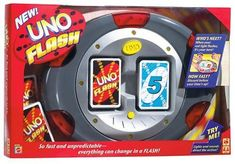 UNO Flash Game. So fast and unpredictable everything can change in a flash. When your red light flashes it is your turn. Discard before your time is up. Fun for all ages. Good for hours of fun