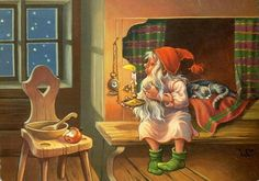 Lars Carlsson Christmas Elf, Christmas Pictures, Vintage Christmas, Christmas Knomes, Christmas Illustration, Illustration Art, Norwegian Christmas, Kobold, Mythical Creatures