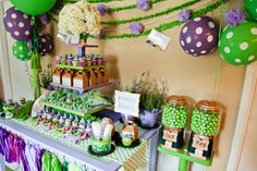 Purple and Green Polka Dot Droc Party by Party Box Design - such a fun, unique theme!