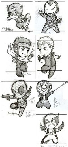 Captain America, Ironman, Wiccan, Hulkling, Deadpool, Spiderman, and Wolverine