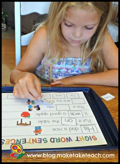 It's so important that students learn sight words in context.  The Sight Word Sentences templates from Cookie Sheet Activities Vol. 3 can help.  Great for centers!
