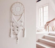 Macrame dream catcher boho bohemian wall hanging white