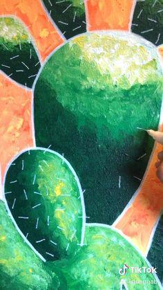 Cactus Painting, Plant Painting, Cactus Art, Rock Painting, Cactus Plants, Arte Van Gogh, Canvas Painting Tutorials, Painting Videos, Easy Canvas Art