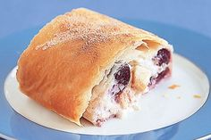Apple & Cherry Ricotta Strudel by Taste. This classic dessert features light filo pastry filled with creamy ricotta and a sweet combo of apple and cherry. Low Carb Desserts, Healthy Dessert Recipes, Raw Food Recipes, Ricotta Dessert, Strudel Recipes, Filo Pastry, American Desserts, Classic Desserts, High Tea