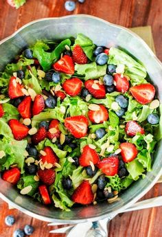 Strawberry, Blueberry & Greens Salad with Honey Vinaigrette