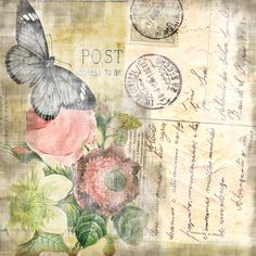 Vintage Postcard - Flowers and butterfly decoupage