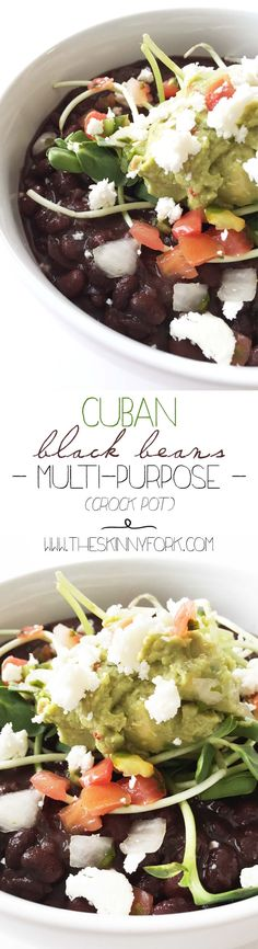 Cuban Black Beans (Crock Pot) - Flavorful black beans that can be used in many different ways! Alone, in salads, atop nachos, or even in enchiladas. Plus, they are so easy to make, cheaper than canned, better for you, and delicious! TheSkinnyFork.com
