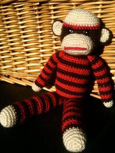 Sock Monkey Crochet Pattern by ZeeZeeStiches on Etsy. , via Etsy.