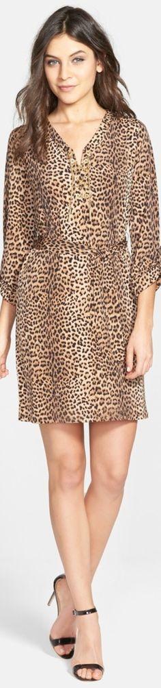 MICHAEL Michael Kors Leopard Print Chain Lace-Up Dress