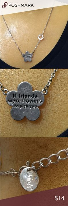"Claire's necklace about friendship Cute necklace, says ""If friends were flowers I'd pick you"". Has a small flower in chain Claire's Jewelry Necklaces"