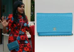 """Mindy has an array of Chanel crossbody bags in a variety of colors but this teal bag, worn with her floral print dress and red coat in """"Bro ..."""