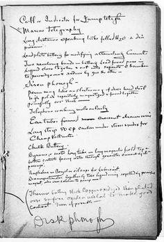liste des choses à inventer page 4 ..Thomas Edison, to-do-list-1888/